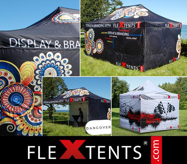 Stampa completa digitale su FlexTents® - leader delle tende pieghevoli nel mercato
